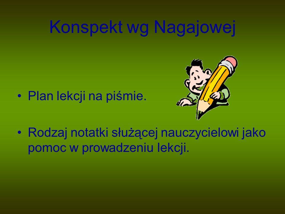 Konspekt wg Nagajowej Plan lekcji na piśmie.