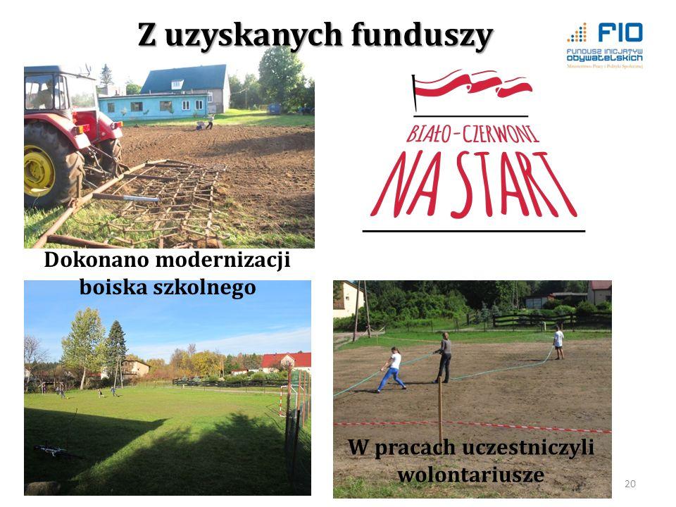 Z uzyskanych funduszy Dokonano modernizacji boiska szkolnego