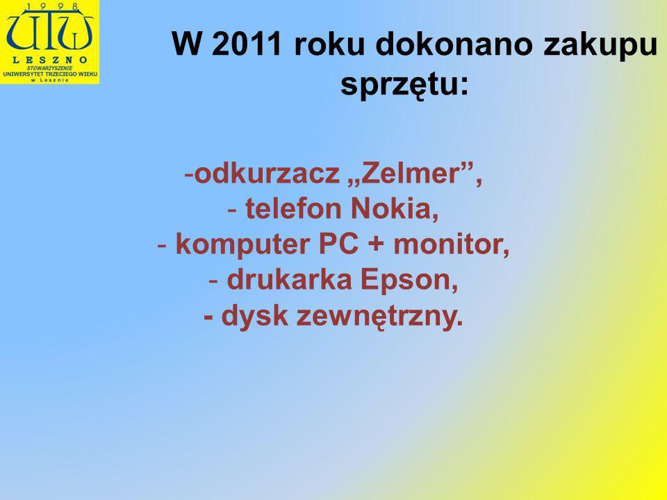 W 2011 roku dokonano zakupu sprzętu: