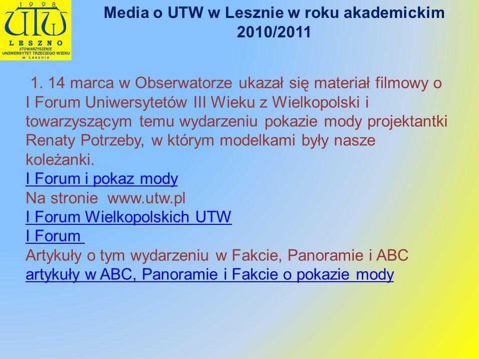 Media o UTW w Lesznie w roku akademickim 2010/2011