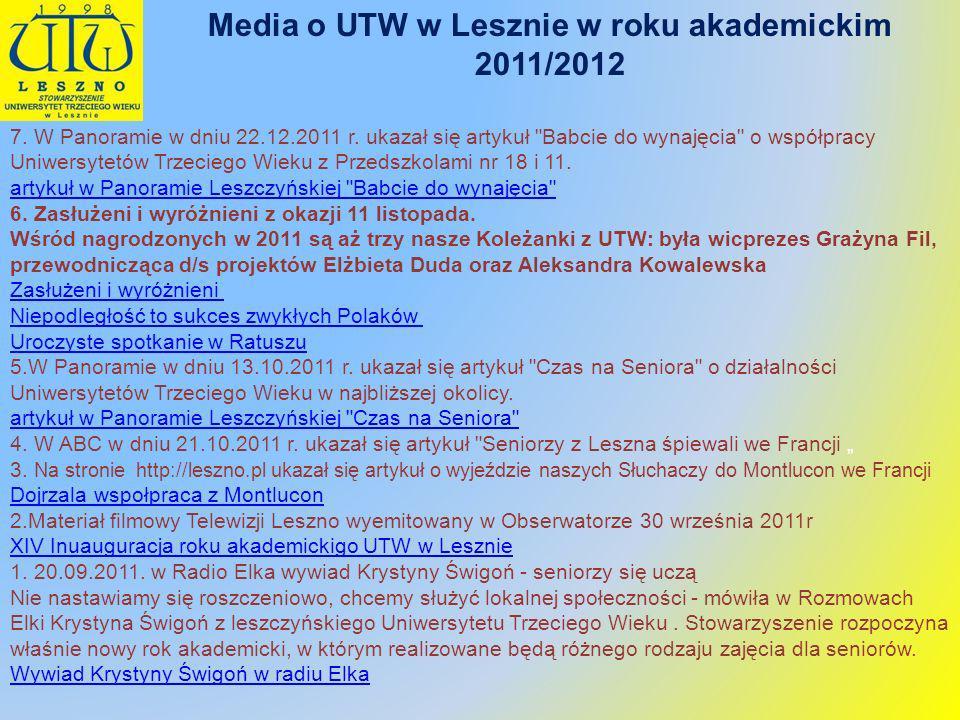 Media o UTW w Lesznie w roku akademickim 2011/2012