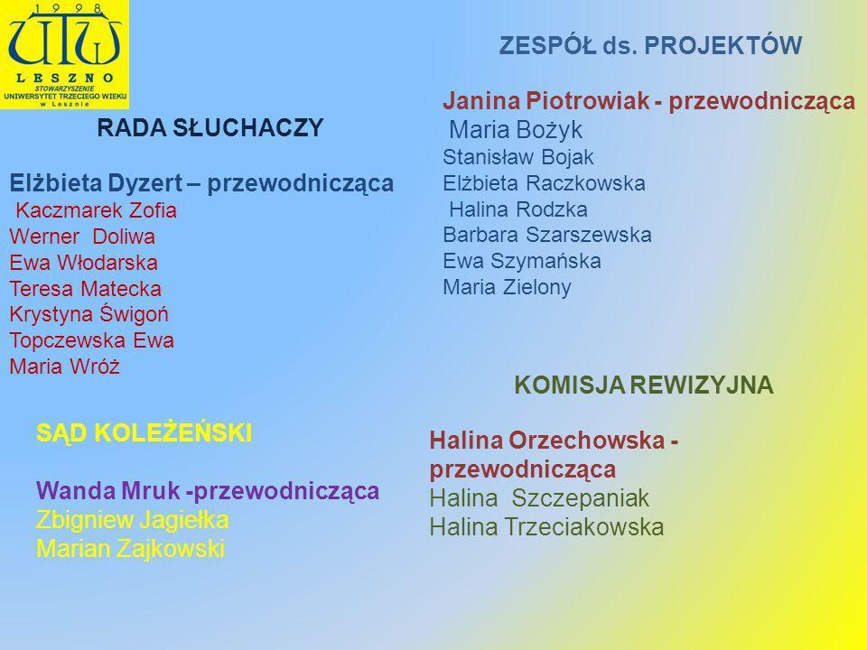 Janina Piotrowiak - przewodnicząca Maria Bożyk