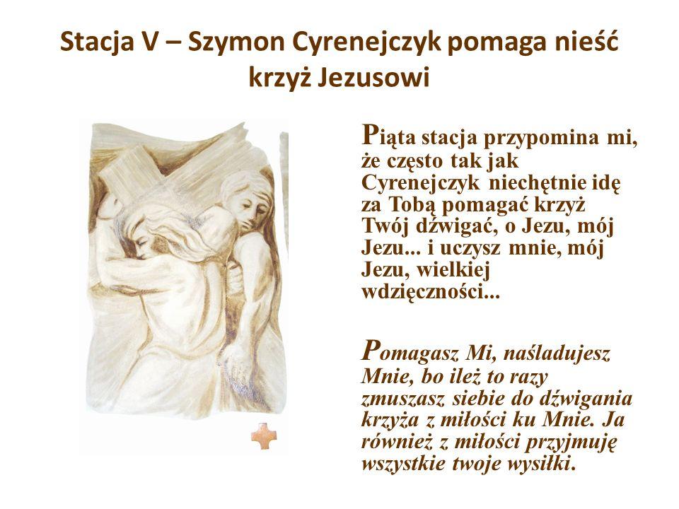 Stacja V – Szymon Cyrenejczyk pomaga nieść krzyż Jezusowi