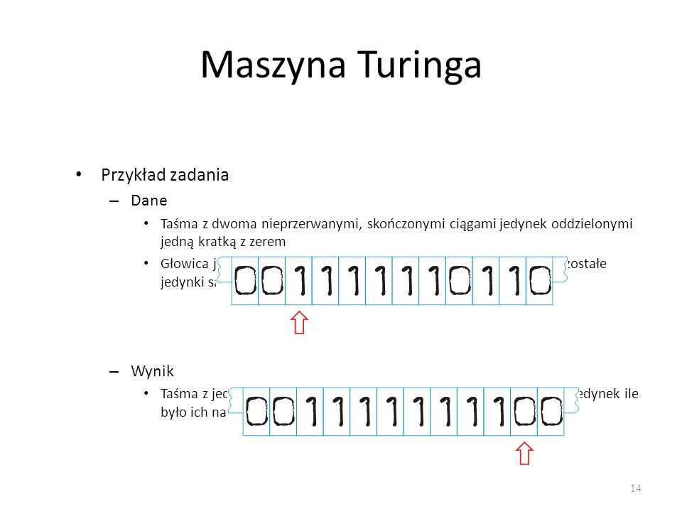 Maszyna Turinga Przykład zadania Dane Wynik