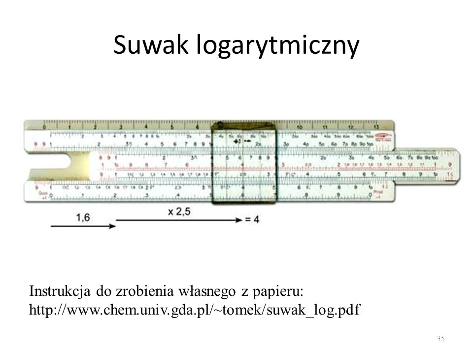Suwak logarytmiczny Instrukcja do zrobienia własnego z papieru: