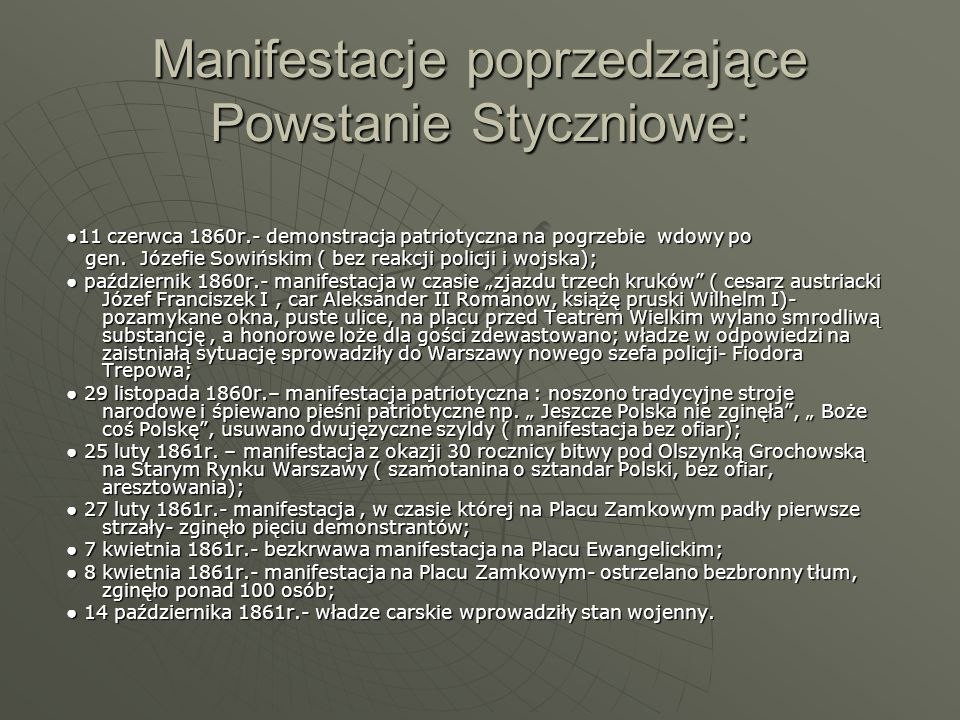 Manifestacje poprzedzające Powstanie Styczniowe: