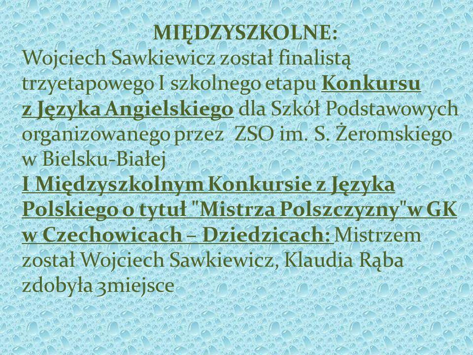 MIĘDZYSZKOLNE: Wojciech Sawkiewicz został finalistą trzyetapowego I szkolnego etapu Konkursu.