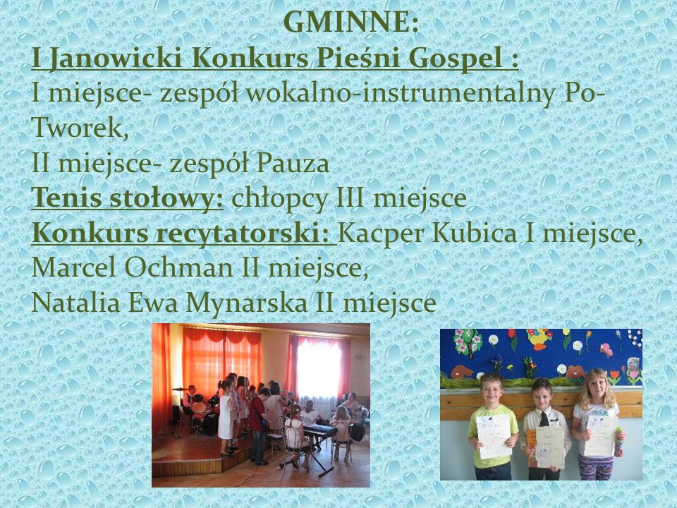GMINNE: I Janowicki Konkurs Pieśni Gospel :
