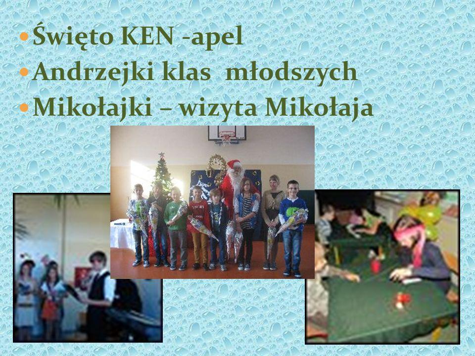 Święto KEN -apel Andrzejki klas młodszych Mikołajki – wizyta Mikołaja