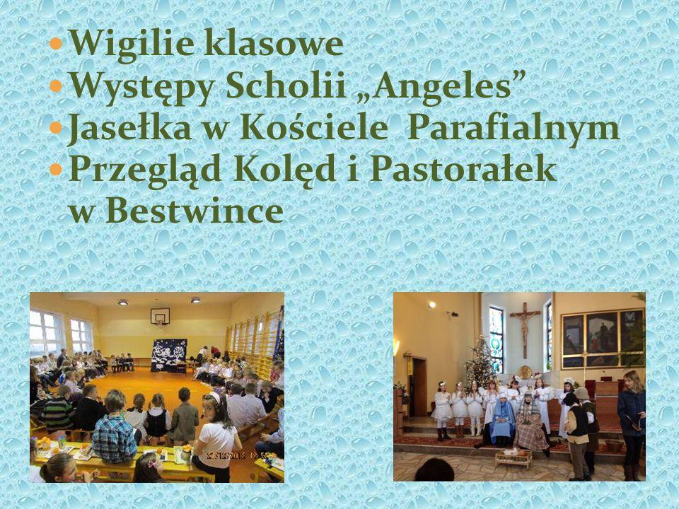 """Wigilie klasowe Występy Scholii """"Angeles Jasełka w Kościele Parafialnym. Przegląd Kolęd i Pastorałek."""