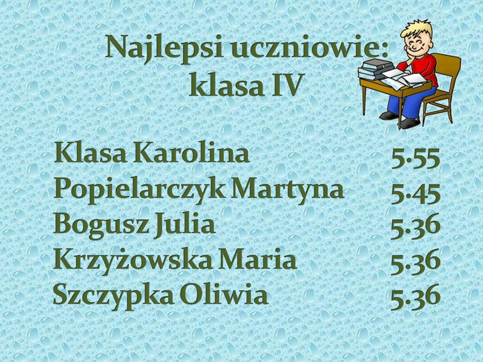 Najlepsi uczniowie: klasa IV Klasa Karolina 5.55 Popielarczyk Martyna 5.45 Bogusz Julia 5.36 Krzyżowska Maria 5.36 Szczypka Oliwia 5.36