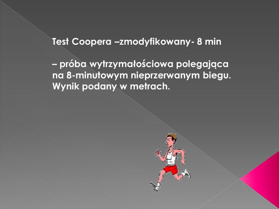 Test Coopera –zmodyfikowany- 8 min – próba wytrzymałościowa polegająca