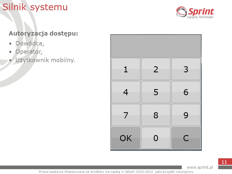 Silnik systemu Autoryzacja dostępu: Dowódca, Operator,