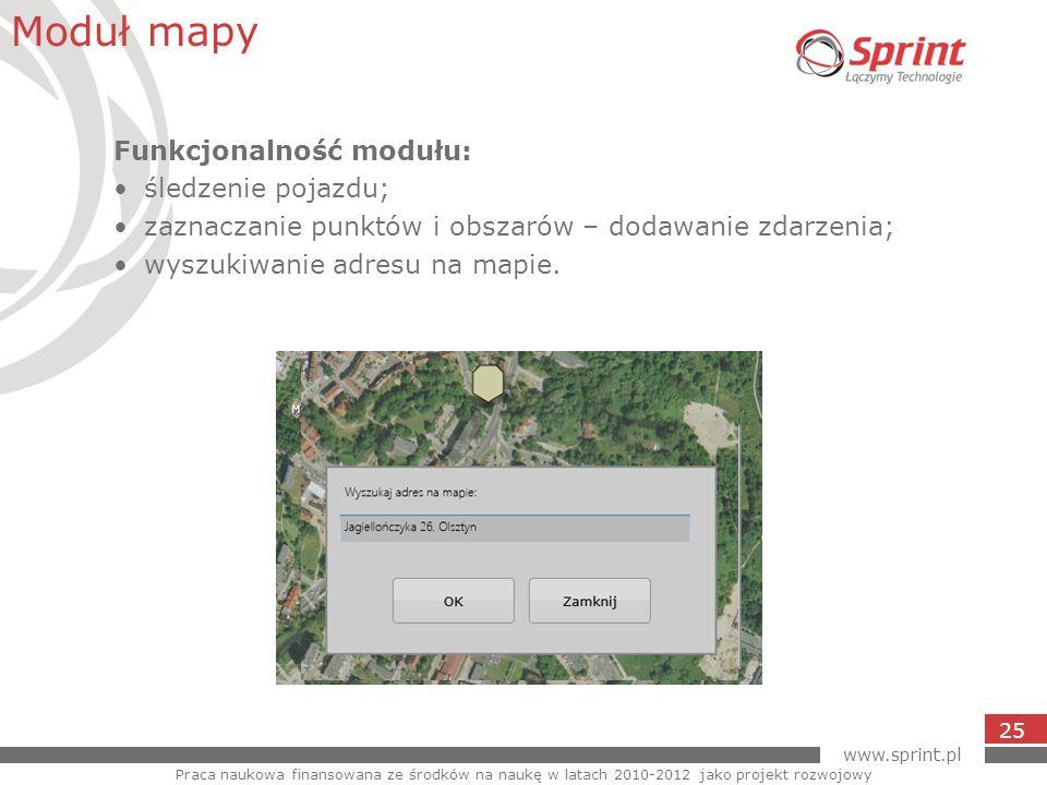 Moduł mapy Funkcjonalność modułu: śledzenie pojazdu;