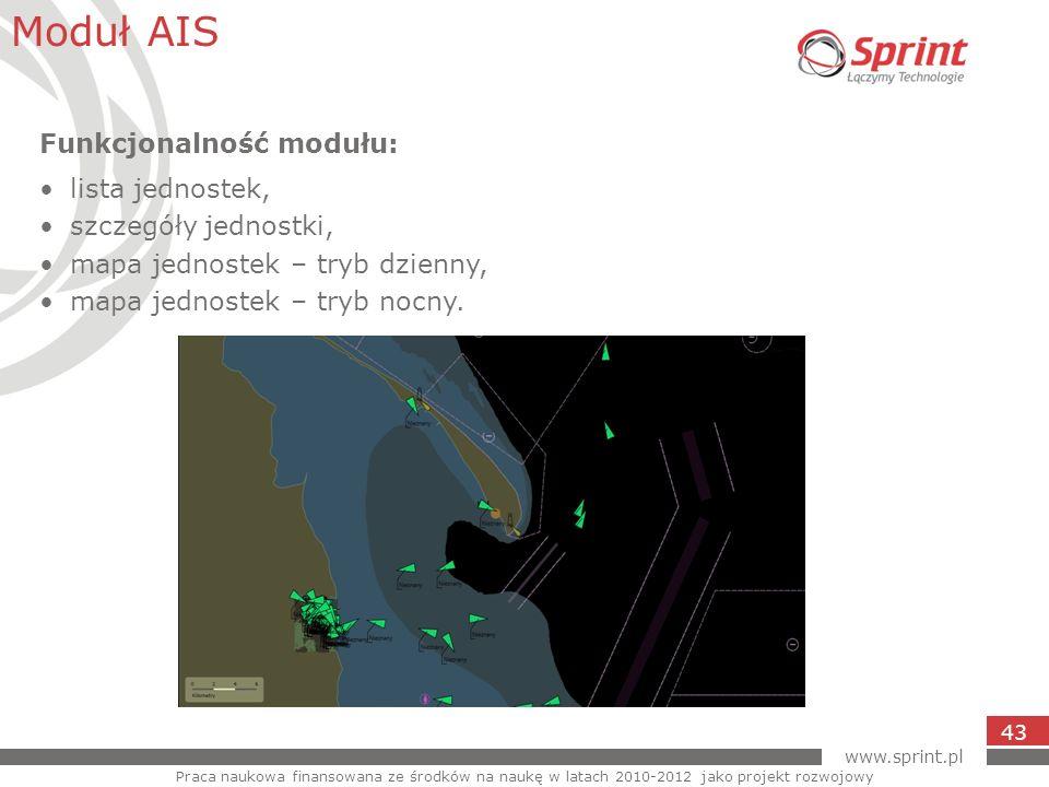 Moduł AIS Funkcjonalność modułu: lista jednostek, szczegóły jednostki,