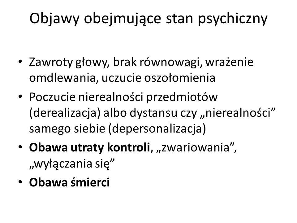 Objawy obejmujące stan psychiczny