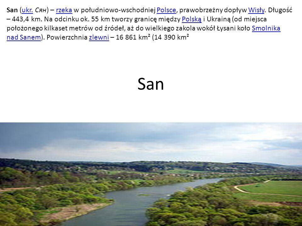 San (ukr. Сян) – rzeka w południowo-wschodniej Polsce, prawobrzeżny dopływ Wisły. Długość – 443,4 km. Na odcinku ok. 55 km tworzy granicę między Polską i Ukrainą (od miejsca położonego kilkaset metrów od źródeł, aż do wielkiego zakola wokół Łysani koło Smolnika nad Sanem). Powierzchnia zlewni – 16 861 km² (14 390 km²