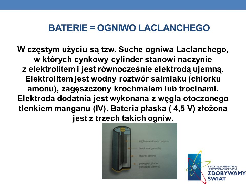 Baterie = ogniwo laclanchego
