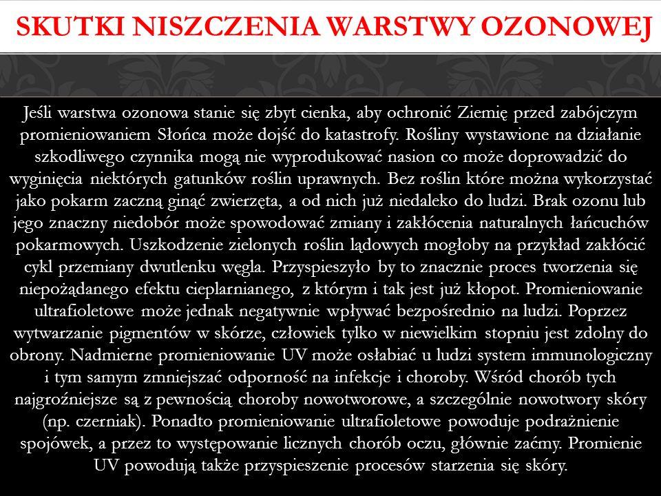 Skutki niszczenia warstwy ozonowej