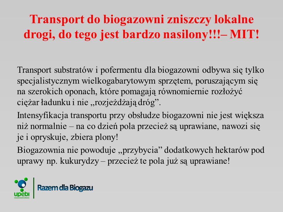 Transport do biogazowni zniszczy lokalne drogi, do tego jest bardzo nasilony!!!– MIT!