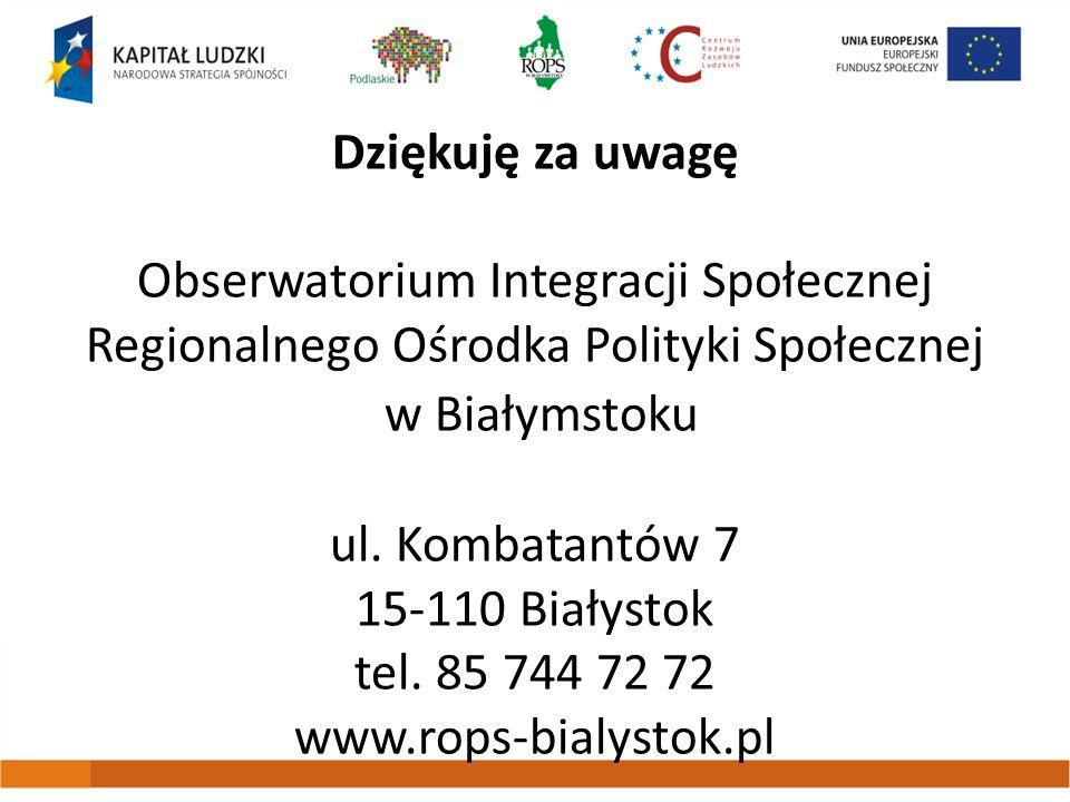 Dziękuję za uwagę Obserwatorium Integracji Społecznej Regionalnego Ośrodka Polityki Społecznej w Białymstoku ul.