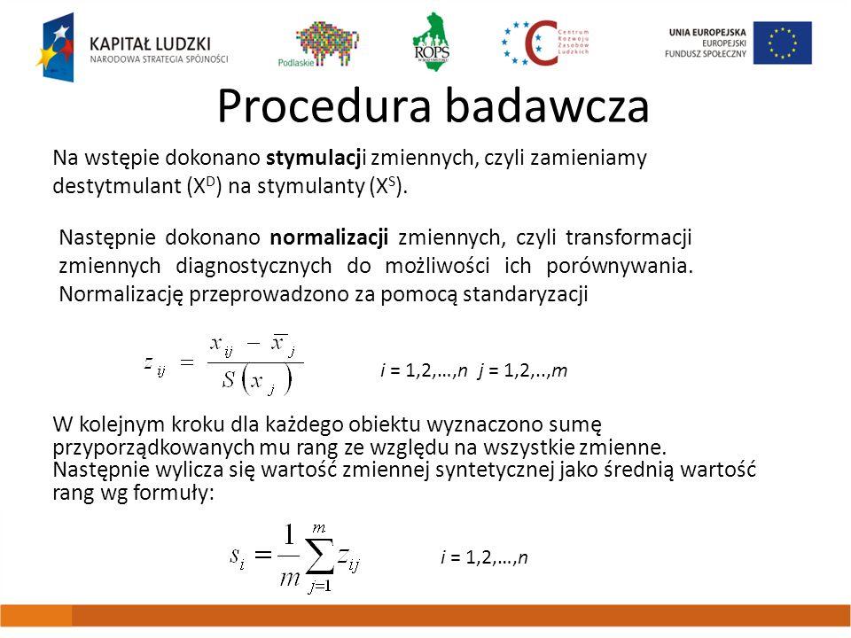 Procedura badawcza Na wstępie dokonano stymulacji zmiennych, czyli zamieniamy destytmulant (XD) na stymulanty (XS).