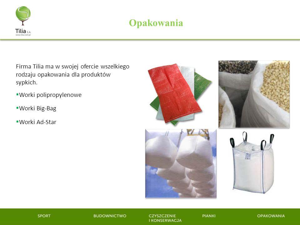 OpakowaniaFirma Tilia ma w swojej ofercie wszelkiego rodzaju opakowania dla produktów sypkich. Worki polipropylenowe.