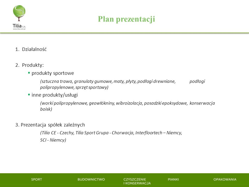 Plan prezentacji 1. Działalność 2. Produkty: produkty sportowe