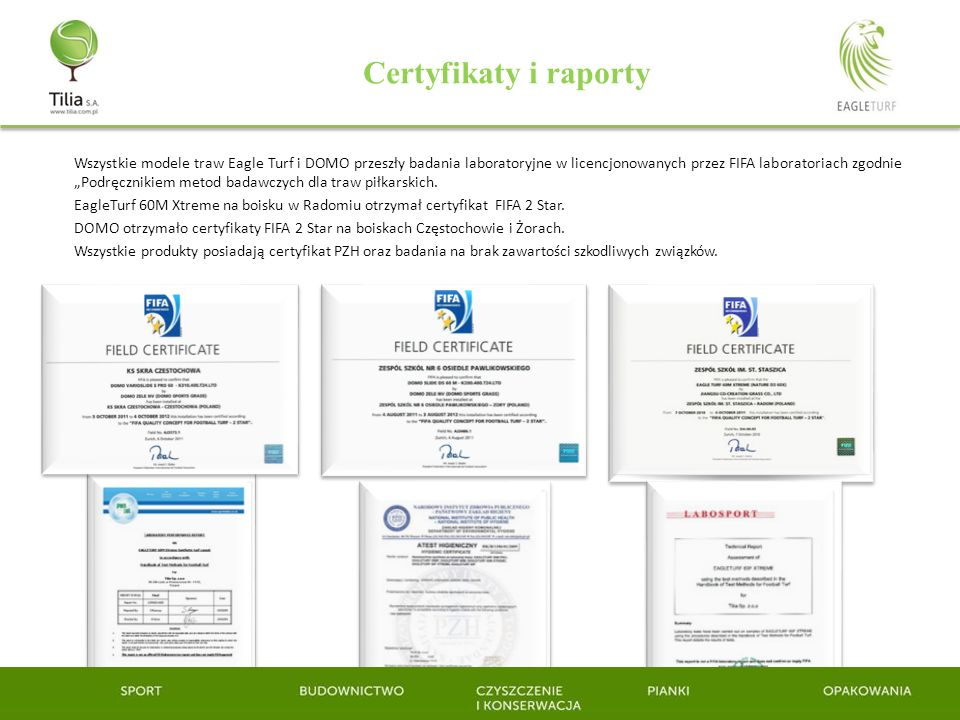 Certyfikaty i raporty