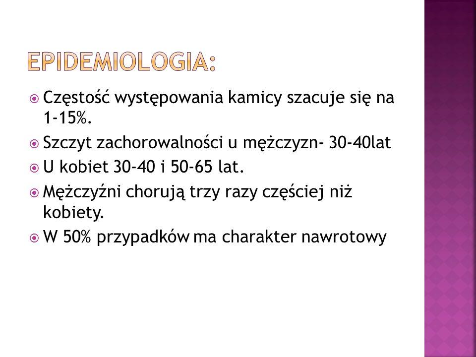 Epidemiologia: Częstość występowania kamicy szacuje się na 1-15%.