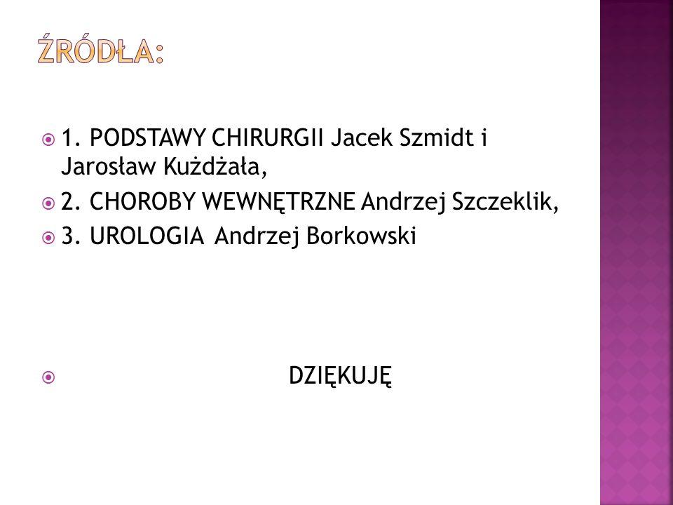 Źródła: 1. PODSTAWY CHIRURGII Jacek Szmidt i Jarosław Kużdżała,