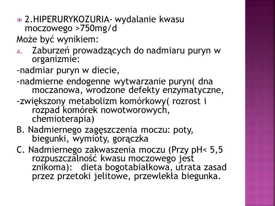 2.HIPERURYKOZURIA- wydalanie kwasu moczowego >750mg/d