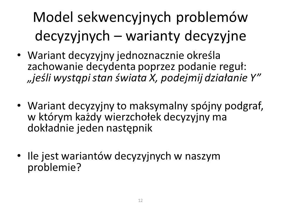 Model sekwencyjnych problemów decyzyjnych – warianty decyzyjne