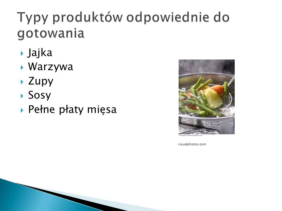 Typy produktów odpowiednie do gotowania
