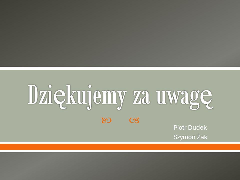 Dziękujemy za uwagę Piotr Dudek Szymon Żak