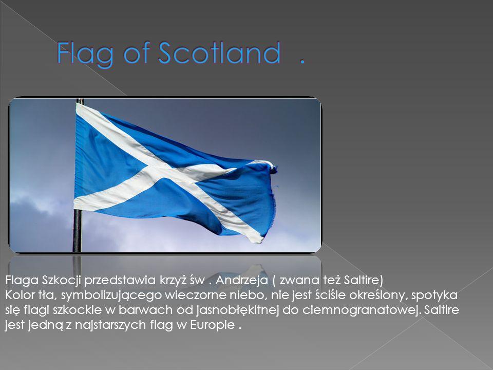 Flag of Scotland . Flaga Szkocji przedstawia krzyż św . Andrzeja ( zwana też Saltire)