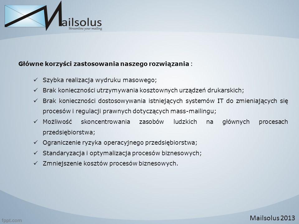Mailsolus 2013 Główne korzyści zastosowania naszego rozwiązania :
