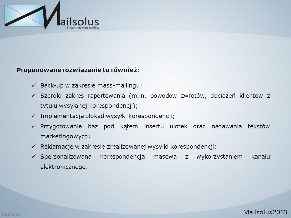 Mailsolus 2013 Proponowane rozwiązanie to również: