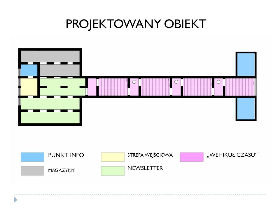 """PROJEKTOWANY OBIEKT PUNKT INFO """"WEHIKUŁ CZASU NEWSLETTER"""