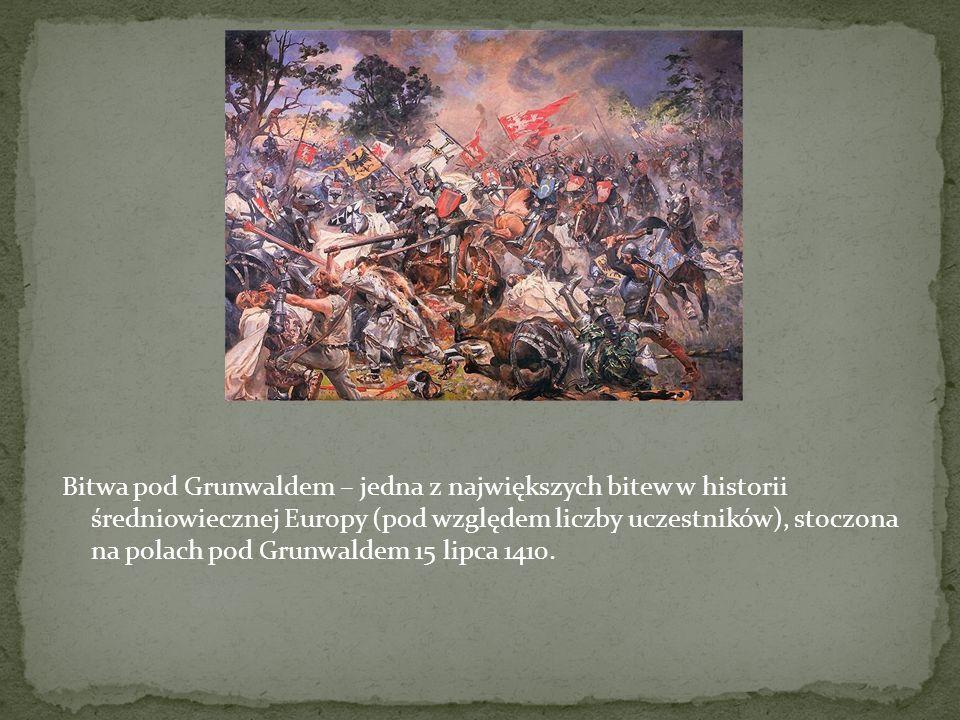Bitwa pod Grunwaldem – jedna z największych bitew w historii średniowiecznej Europy (pod względem liczby uczestników), stoczona na polach pod Grunwaldem 15 lipca 1410.