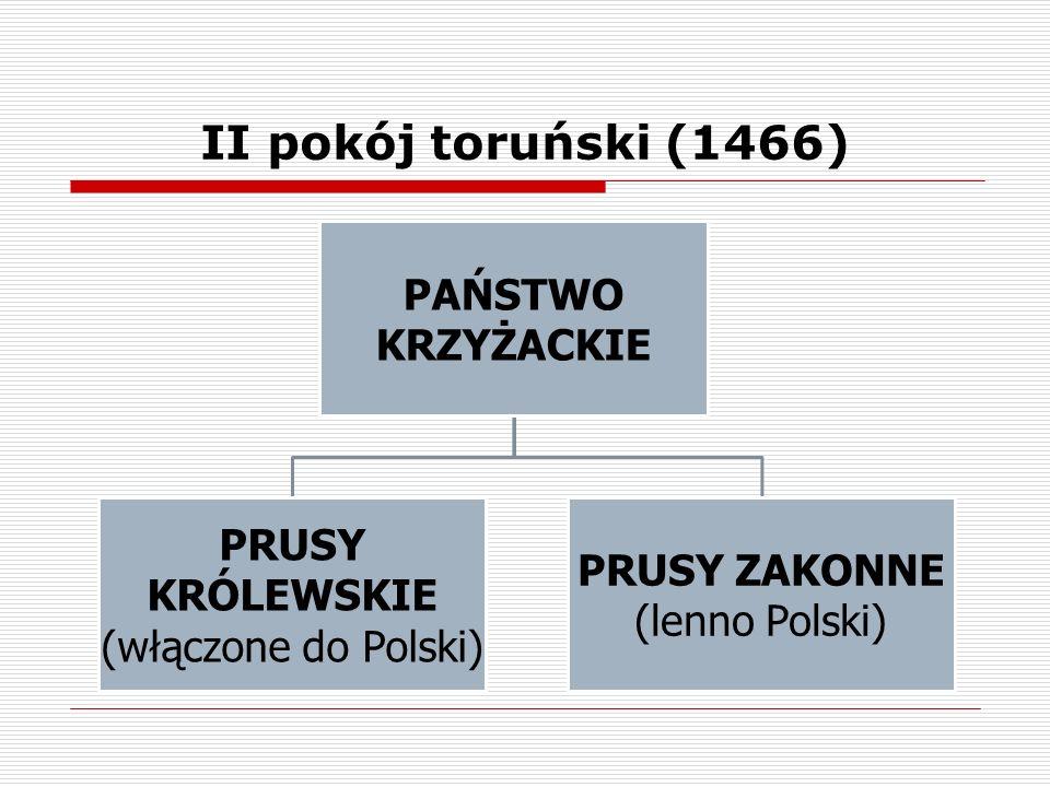 II pokój toruński (1466) PAŃSTWO KRZYŻACKIE (włączone do Polski)