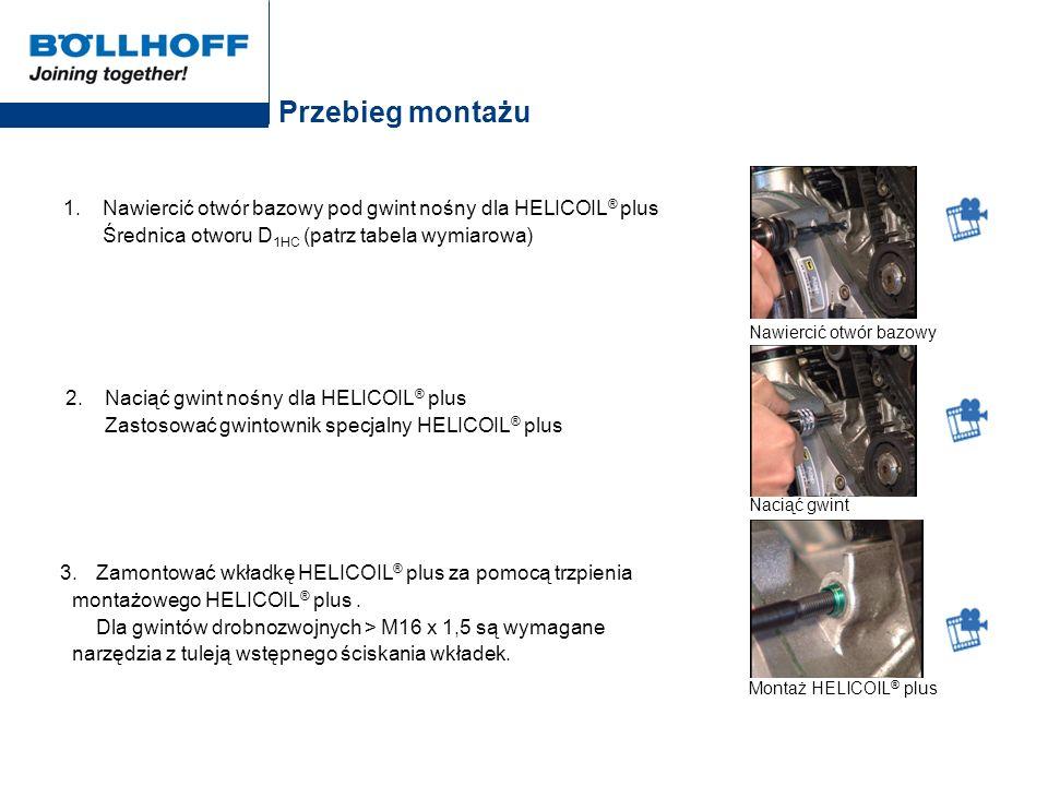 Przebieg montażu 1. Nawiercić otwór bazowy pod gwint nośny dla HELICOIL® plus Średnica otworu D1HC (patrz tabela wymiarowa)