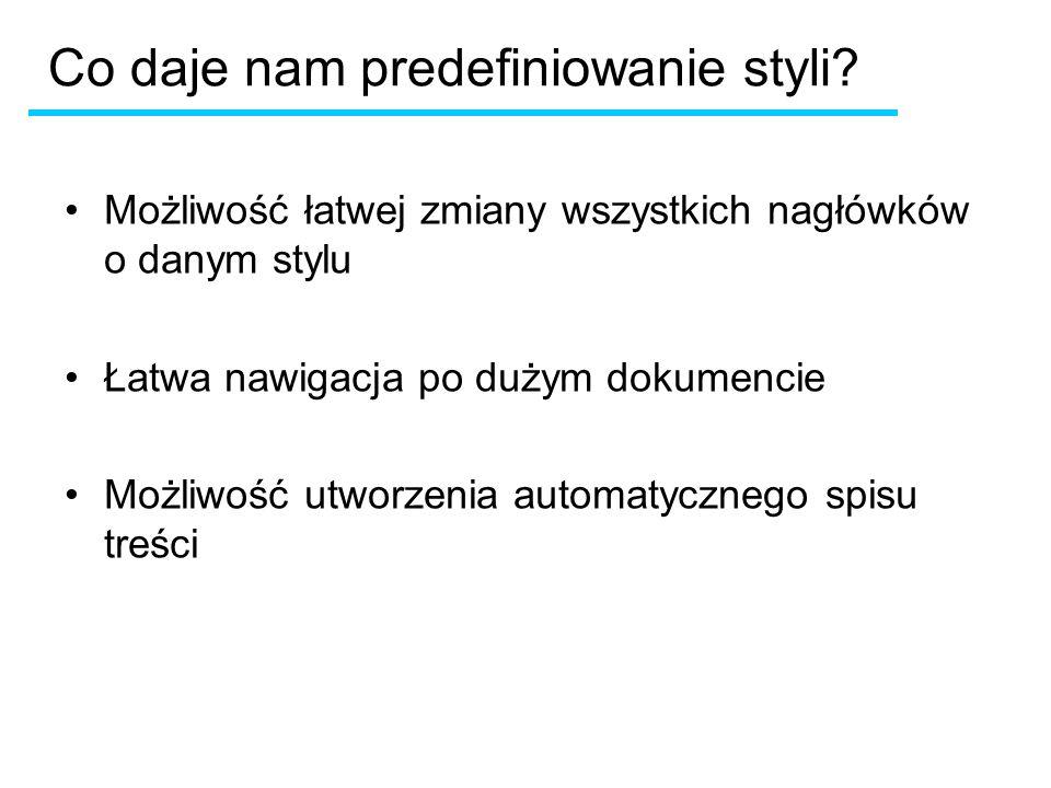Co daje nam predefiniowanie styli