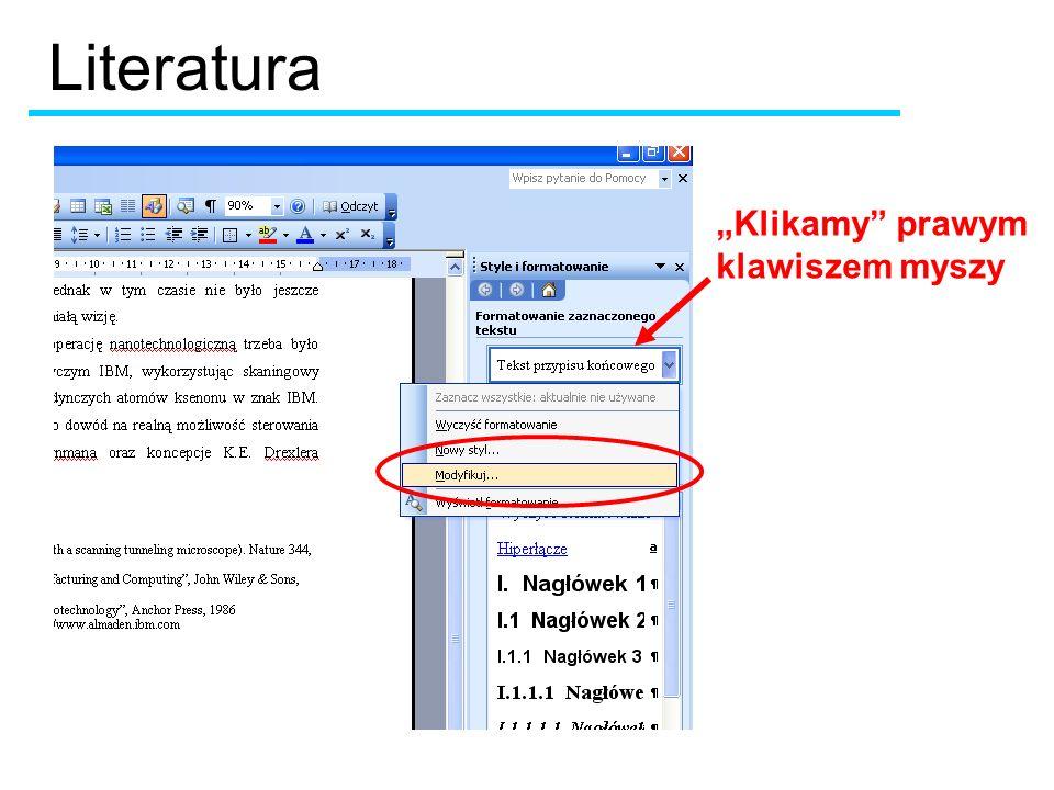 """Literatura """"Klikamy prawym klawiszem myszy"""