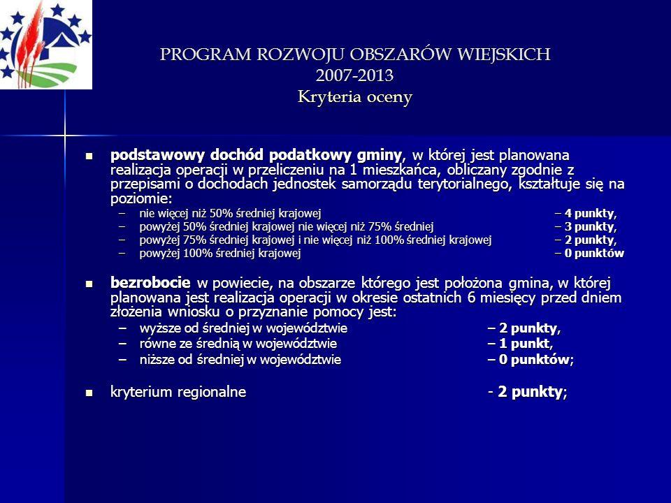 PROGRAM ROZWOJU OBSZARÓW WIEJSKICH 2007-2013 Kryteria oceny