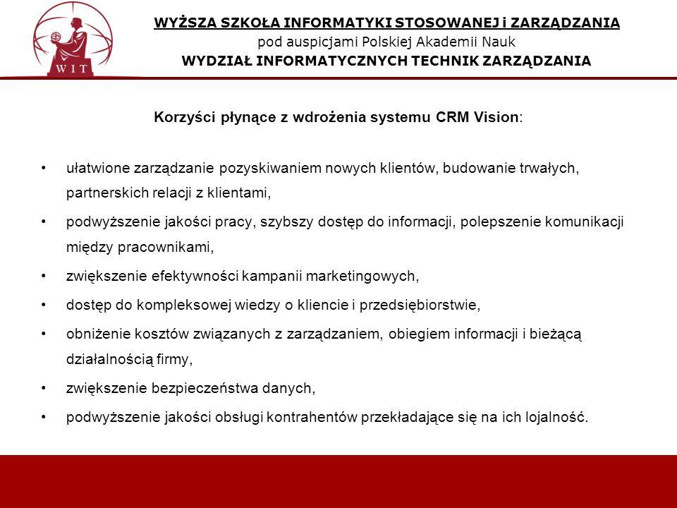 Korzyści płynące z wdrożenia systemu CRM Vision: