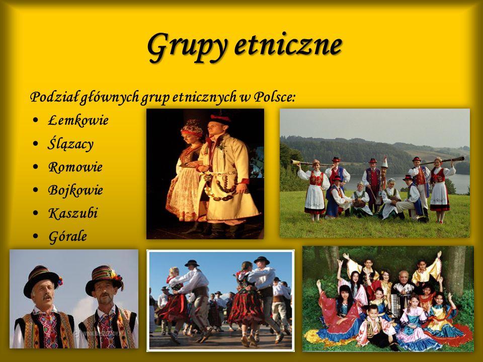 Grupy etniczne Podział głównych grup etnicznych w Polsce: Łemkowie