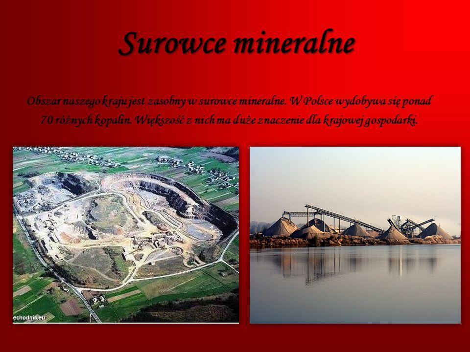 Surowce mineralne Obszar naszego kraju jest zasobny w surowce mineralne. W Polsce wydobywa się ponad.