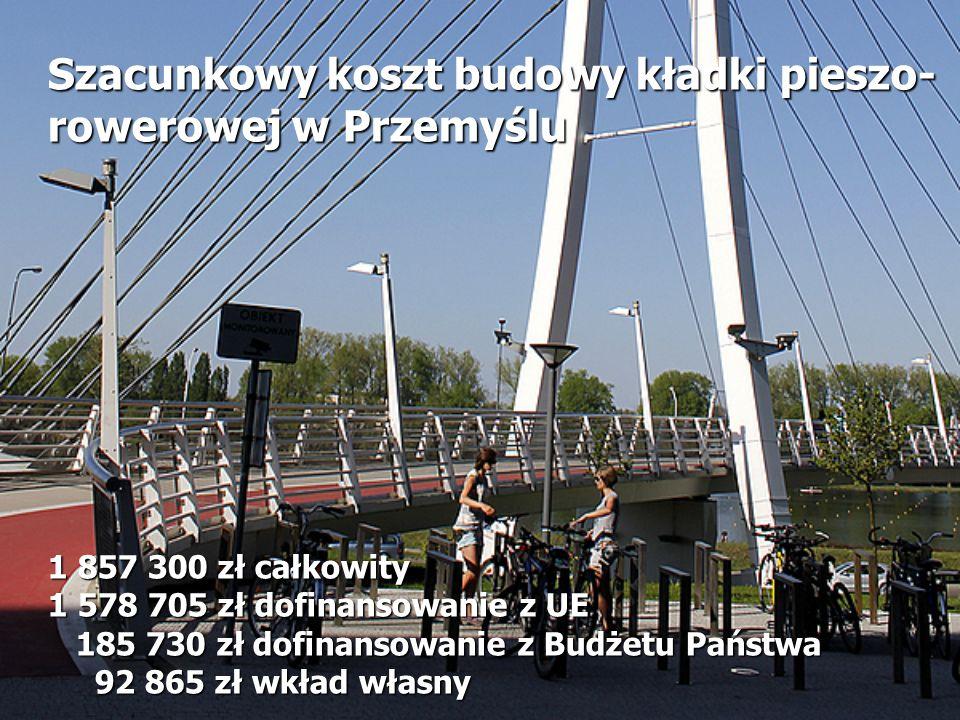 Szacunkowy koszt budowy kładki pieszo-rowerowej w Przemyślu 1 857 300 zł całkowity 1 578 705 zł dofinansowanie z UE 185 730 zł dofinansowanie z Budżetu Państwa 92 865 zł wkład własny