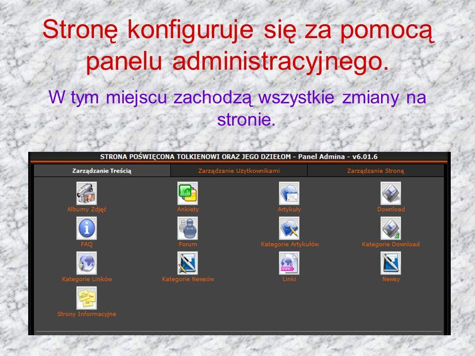 Stronę konfiguruje się za pomocą panelu administracyjnego.